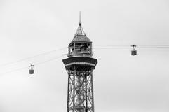 Cabina Montjuic y dos de Teleferico en Barcelona Imagen de archivo libre de regalías