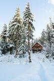 Cabina nell'inverno di legni con neve Immagini Stock Libere da Diritti