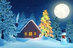 Cabina, árbol de navidad y muñeco de nieve en invierno en la noche Fotos de archivo