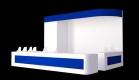 Cabina semplice della fiera commerciale illustrazione 3d isolata su fondo bianco immagine stock libera da diritti