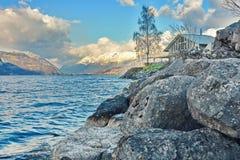 Cabina sul lago Thun Fotografie Stock