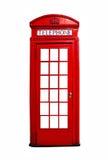 Cabina telefonica britannica rossa isolata su bianco Fotografie Stock Libere da Diritti