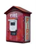 Cabina telefonica d'annata del fuoco, isolata Immagine Stock