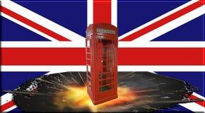 Cabina telefonica rossa britannica davanti ad Union Jack illustrazione vettoriale