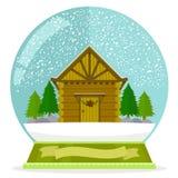 Cabina in un globo della neve Fotografie Stock Libere da Diritti
