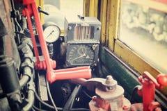 Cabina vieja del motor del tren del vapor Imágenes de archivo libres de regalías