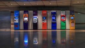 Cabinas coloridas de la atmósfera del banco comercial imagen de archivo libre de regalías