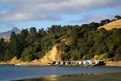 Cabinas de la pesca - Nueva Zelanda Foto de archivo libre de regalías
