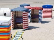 Cabinas de la playa Imagenes de archivo