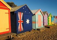 Cabinas de la playa de Melbourne Foto de archivo libre de regalías