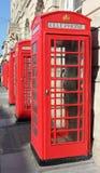 Cabinas de teléfonos rojas Fotografía de archivo libre de regalías