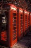 Cabinas de teléfonos rojas Fotografía de archivo