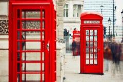 Cabinas de teléfonos rojas Imágenes de archivo libres de regalías
