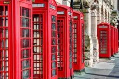 Cabinas de teléfonos rojas Foto de archivo libre de regalías