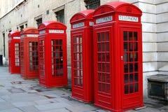 Cabinas de teléfono rojas Imágenes de archivo libres de regalías