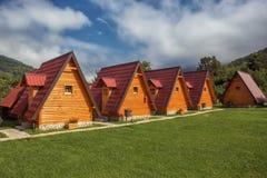 Cabinas en camping foto de archivo libre de regalías