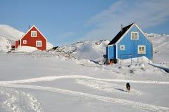 Cabinas y perro rojos y azules en invierno, Groenlandia Foto de archivo libre de regalías