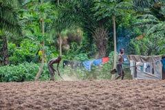 CABINDA/ANGOLA - 9 giugno 2010 - agricoltori rurali fino a terra in Cabinda L'Angola, Africa Fotografie Stock Libere da Diritti