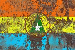 Cabinda proivnce grunge flag, Angola dependent territory flag.  Stock Photo