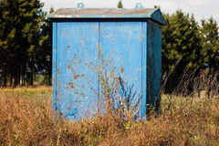 Cabine azul de um gasista foto de stock