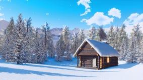 Cabine bloquée par la neige confortable de montagne au jour d'hiver clair banque de vidéos