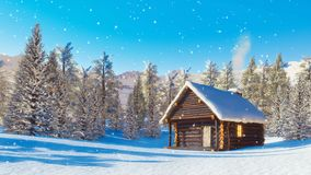 Cabine bloquée par la neige de montagne au jour d'hiver de chutes de neige banque de vidéos