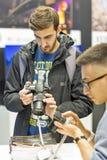 Cabine d'appareil-photo de photo de Sony pendant l'ECO 2017 à Kiev, Ukraine Photo libre de droits