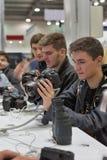 Cabine da empresa de Canon na ECO 2015, o comércio o maior s da eletrônica imagem de stock royalty free