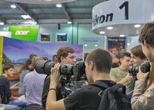 Cabine da empresa de Nikon na ECO 2015, o comércio o maior s da eletrônica imagem de stock