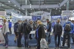 Cabine da empresa de Panasonic na ECO 2015, feira profissional a maior da eletrônica em Ucrânia foto de stock