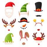 A cabine da foto do Natal, máscara festiva ajustou-se no branco ilustração stock