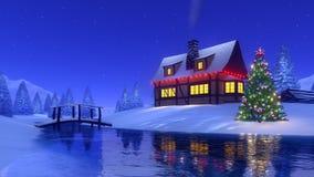 Cabine da montanha e árvore de Natal na noite do inverno Fotos de Stock Royalty Free