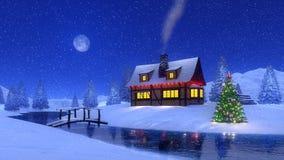 Cabine da montanha na noite de Natal da queda de neve Imagens de Stock