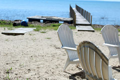 Cabine da praia de Michigan Foto de Stock Royalty Free