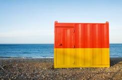 Cabine da praia no por do sol Imagens de Stock Royalty Free