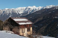 Cabine in de Alpen, Trentino Stock Fotografie