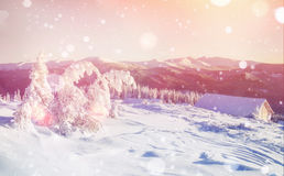 Cabine in de bergen in de winter, achtergrond met wat zachte hoogte royalty-vrije stock fotografie