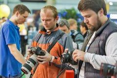 Cabine de Canon durante ECO 2017 em Kiev, Ucrânia Fotos de Stock