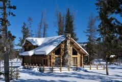 Cabine de l'hiver de forêt Photos libres de droits