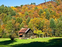 Cabine de logarithme naturel en vallée/automne Image libre de droits
