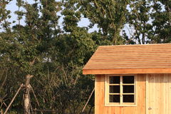 Cabine de logarithme naturel par des arbres Photos libres de droits