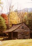 Cabine de logarithme naturel parmi des arbres d'automne Images stock