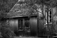 Cabine de madeira velha nas madeiras Imagem de Stock