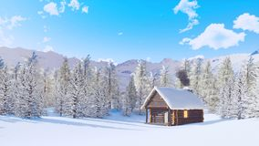 Cabine de montagne et forêt de sapin au jour d'hiver neigeux clips vidéos