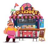 Cabine de nourriture de beignet Concept de chariot de nourriture de rue avec le charact marchand Illustration Stock