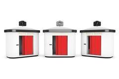 Cabine de photo avec le rideau rouge photos stock
