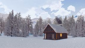 Cabine de rondin avec la cheminée de tabagisme au jour d'hiver neigeux clips vidéos