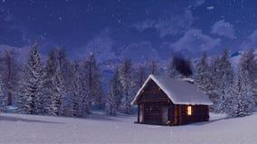Cabine de rondin avec la cheminée de tabagisme la nuit hiver illustration stock