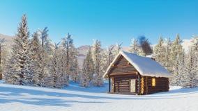 Cabine de rondin bloquée par la neige en montagnes au jour d'hiver banque de vidéos