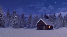 Cabine de rondin confortable en montagnes la nuit neigeux hiver illustration de vecteur